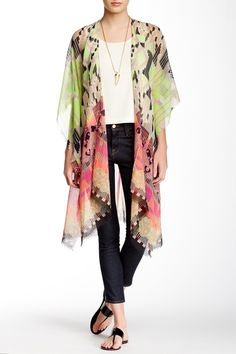 Multicolor Print Kimono by Roffe | Love this for summer | Vacation | Cover up
