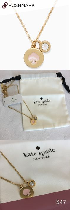 "New Kate Spade Spot the Spade Pendant -Light Pink! Add a little fun to your outfit with this pretty spade charm necklace. ♠️ Shiny 12 karat gold with enamel coating.  Total chain length is 17"" with a lobster claw closure.  The Spade is in a delicate shade of pink.  Comes with dust bag.  Matching earrings are also listed in my closet.  Bundle and save. kate spade Jewelry Necklaces"