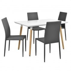 [en.casa]® Tavolo da pranzo bianco opaco con 4 sedie 250,10 € Dining Chairs, Furniture, Design, Home Decor, Home, Dining Chair, Interior Design, Design Comics, Home Interior Design
