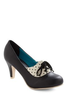I Feel Like Dancing Heel - Black, White, Polka Dots, 20s, 30s, Lace Up, Party, Mid, Faux Leather, Top Rated