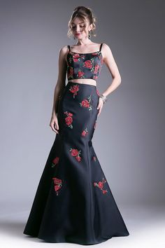 Floral Design Embroidery and Detail Beading Embellished, Two Piece Set Floor Length Prom and Evening Dress has Open Midriff, Sleeveless Top with V Open Back and Trumpet Shape Long Skirt with Train Detail and Zipper Back Closure.