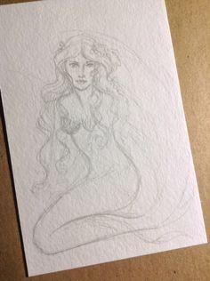 """Mermaid postcard Wendy """"Ennaedwyn"""" Fowler 2015 (c)"""