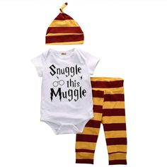 """50% OFF ONLY THIS WEEK - Short sleeve onesie made of a soft cotton blend. - Creative """"Snuggle this Muggle"""" print design. - Warm and comfortable pant and cap with yellow and brown stripes. - Recommended age: 0-6 months, 7-9 months, 10-12 months, 13-18 months (see table) Size HEIGHT ("""") WEIGHT (pounds) 0-6 months 20-25,5 8-16,5 7-9 months 26-27,5 17-20,5 10-12 months 28-30,5 21-23,5 13-18 months 31-32,5 24-26,5 - Package includes x1 onesie, x1 pants, x1 hat Click """"add to cart"""" button and ENJOY…"""