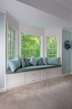 add a cushions and throw pillows to the bay window in the family room?love the idea of a bay window seating area . Window Seat Curtains, Diy Curtains, Curtains Living, Bay Window Seating, Window Seat Cushions, Window Seats Bedroom, Window Blinds, Window Shutters, Bay Window Decor