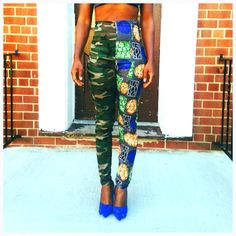Be bold be different high waist african print pants mixed match size Small only 27 waist