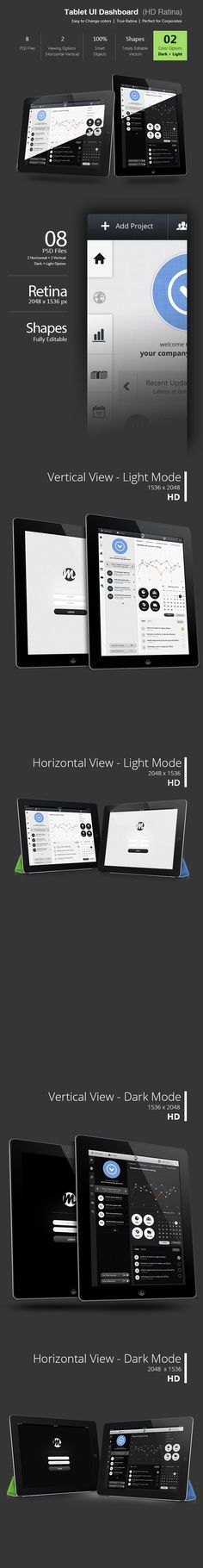Tablet Dashboard Ui (Retina) by Bouncy Studio, via Behance