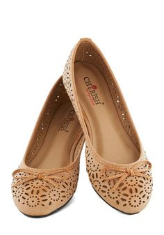 Cutout to the Chase Flat - Flat, Faux Leather, Tan, Solid, Bows, Cutout, Fairytale, Good, Casual