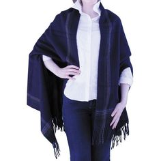 Soft Oversized Knit Plaid Cape with Arm Openings & Frilled Edges