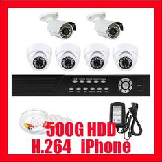 """Professional 8 Channel H.264 DVR with 2 x 1/3"""" SONY CCD Outdoor Cameras, 540TV lines and 4 x 1/3"""" SONY CCD Indoor Cameras, 520TV lines (500GB HDD) by Gw. $590.00. Package Includes:      GW2548SV-N DVR with 500G HDD,     Remote Control and mouse,     2 x GW648W -1/3"""" SONY CCD Outdoor Camera,     4 x GW728W -1/3"""" SONY CCD Indoor Camera,     2 x GW100CAW: 100 feet pre-made cable BNC,     3 x GW60CAW: 60 feet pre-made cable BNC,     1 x GW25CAW: 60 feet pre-made cable..."""
