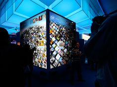 "Intel photo wall: ""Two - 7x7 - 1920x1920 resultion - double-HD, double-touch touch screen glass walls. Each wall is powered by a single all new 2010 Core i7 processor w/ Intel Hyper-Threading technology and Intel HD graphics."