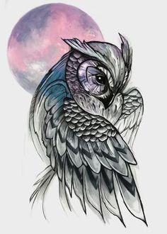 Owl Tattoo Drawings, Bird Drawings, Art Drawings Sketches, Colorful Owl Tattoo, Geometric Owl Tattoo, Tribal Owl Tattoos, Lechuza Tattoo, Realistic Owl Tattoo, Owl Sketch