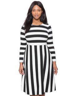 Opposing Stripes Fit and Flare Dress from eloquii.com