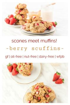 Try Dreena's vegan SCUFFINS! This is an easy baked good and so fragrant and delicious. Use strawberries blueberries or raspberries - and frozen berries are okay! This recipes is gluten-free nut-free oil-free vegan whole-foods plant-based. Baking Recipes, Whole Food Recipes, Vegan Recipes, Raspberries, Blueberries, Strawberries, Brunch Recipes, Breakfast Recipes, Free Breakfast