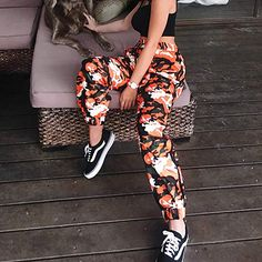 9ae1aefea42 malianna Women Orange Camouflage Ribbon Casual Pencil Pants at Amazon  Women s Clothing store  Camo Pants