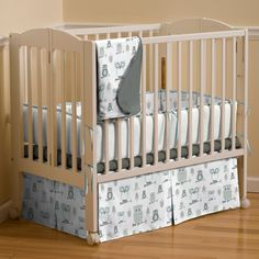 Mist and Gray Owls Mini Crib Bedding by Carousel Designs.