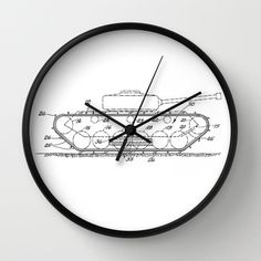 "Tank Patent Clock, Tank Clock, Modern Clock, The Tank Clock, Tank clock, modern clock, vintage Tank clock by STANLEYprintHOUSE  47.00 USD  Available in natural wood, black or white frames, our 10"" diameter unique Wall Clocks feature a high-impact plexiglass crystal face and a backside hook for easy hanging. Choose black or white hands to match your wall clock frame and art design choice. Clock sits 1.75"" deep and requi ..  https://www.etsy.com/ca/listing/243060336/tank-patent-clock.."