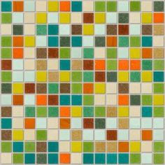 possible kitchen backsplash | retro tuscany- 12 different glass tiles in shades of green, brown, red, orange, yellow and blue- speckled and marbled -  by Susan Jablon