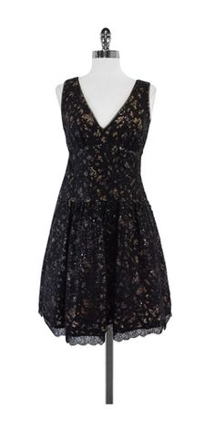 BCBG Black Sequin & Embroidered Dress