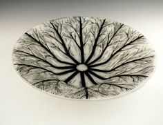 Fused Sgraffito Glass Tree-Wheel Bowl from Steph Mader, 2010