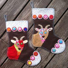 Goat Christmas Stockings $40 Felt Handmade #NorthCarolina #DinnerTimeChimes