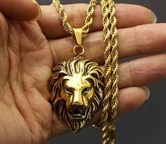 43mm*30mm Yellow Gold Tone Lion Head Pendant Bilker Male Necklace 316L Stainless Steel Fashion Jewelry Free Chain 60cm Long