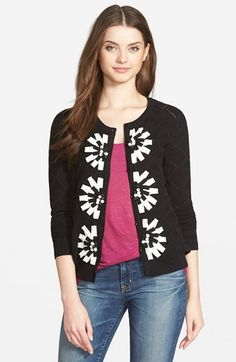 CeCe by Cynthia Steffe Pointelle Flower Cardigan available at #Nordstrom