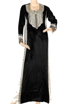 aljalabiya.com: 'Black Velvet' Pure velvet kaftan with hand embroidery on chest ( N-13322-1) $249.00