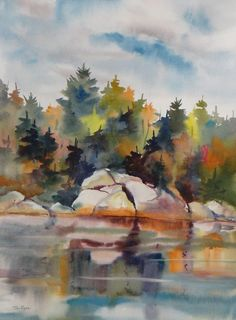 """Contemporary Painting - """"Rock Reflection"""" (Original Art from Tom Ryan Watercolors)"""