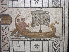 Theseus leaving Crete   Roman Mosaic from Utica. Ca. 200-250 CE/A.D.  Theseus leaving Crete. Inscription: VINCLVSVS Penn Museum inv. MS 4012.  RBU2009.4012