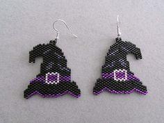 Witch's Hat Halloween Earrings in delica by DsBeadedCrochetedEtc