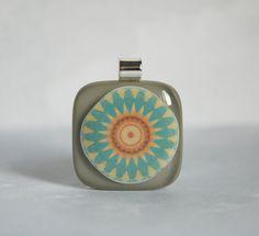 Necklace Pendant Fused Glass Jewelry Modern Mandala