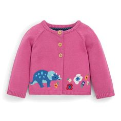 You can never have too many cozy knits to protect your little one from a breeze, especially if they are as adorable as the Girls' Fuchsia Dinosaur Cardigan. Available in a lovely candy pink tone that will coordinate with many of our styles, it features a Dinosaur Jumper, Baby Dinosaurs, Pink Tone, Summer Breeze, Pink Candy, Knitting, Baby Care, Girls, Sweaters