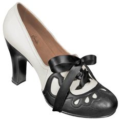 Aris Allen Women's 1930s Black and Ivory Lace-up Heeled Oxford Shoes - *Limited Sizes*, dancestore.com - 1