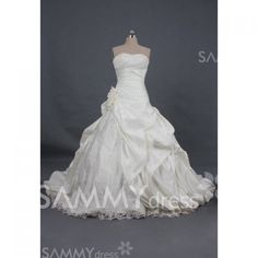 $198.17 Graceful Strapless Sequins and Lace Up Design Chapel Train Wedding Dress For Bride
