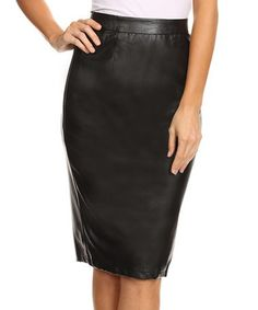 Another great find on #zulily! Black Faux Leather Pencil Skirt #zulilyfinds