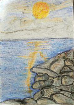 Vollmond am Meer Am Meer, Painting, Art, Blue Moon, Art Background, Painting Art, Kunst, Paintings, Performing Arts