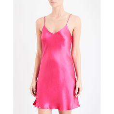Nk Imode Du jour short silk-satin chemise (19880 RSD) ❤ liked on Polyvore featuring intimates, chemises, short slips, chemise lingerie, strappy lingerie, lingerie chemise and lingerie slips