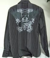 Price $49.99 Live The Rock amp; Roll Lifestyle with this fabulous SkullGuitar Long-sleeved Button Front shirt by Fender Left chest pocket is so well m...