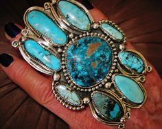 NAVAJO SUPER BLUES TURQUOISE SIGNED RING,82gr CHAVEZ Sterling Silver,sz 7