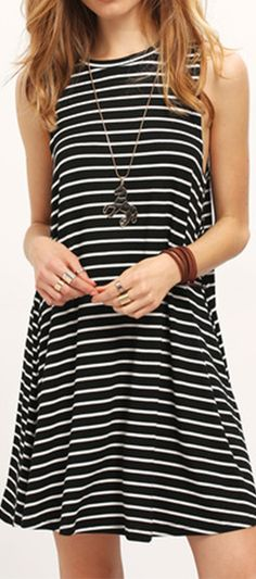 Black White Striped Sleeveless Dress. Material is soft and the fit is loose, as you'd expect. Very comfy!