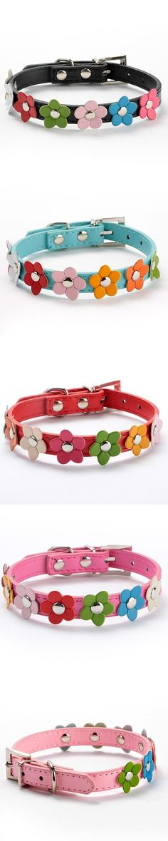 Sweet Flower Studded Puppy Pet Dog Cat Collar Leather Buckle Neck Strap CollarWX