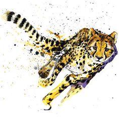 Descargar - Cheetah T-shirt graphics,  African animals cheetah illustration with splash watercolor textured background. unusual illustration watercolor  cheetah fashion print, poster for textiles, fashion design — Imagen de stock #76920131