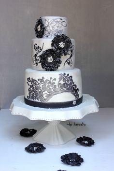 painted cakes   Filigree Hand-painted Cake — Round Wedding Cakes