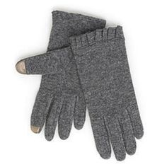 These pretty gray touch gloves have a sleek fit and a ruffled cuff. You can keep them on while texting or surfing the web on your iphone, ipod, ipad or any other touch screen device. Size: Womens Large Brand: Runway Color: Grey Materials: 74% Wool, 26% Nylon