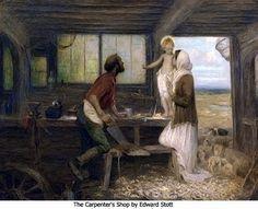 Joseph the Workman, Spouse of the Blessed Virgin Mary Catholic Mass Readings, Catholic Doctrine, Catholic Art, Catholic Saints, Christianity, Jesus Jose Y Maria, Woodworking Images, Family Painting, Mary And Jesus