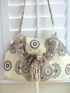 bohemain handbag, fabric handbag, 15% OFF, coupon, sale, hobo, gypsy, cross body, shoulder bag, shabby chic, brooch, cream, grey on Etsy, $81.00