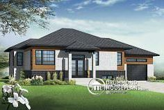 Discover the plan - Lotus 3 from the Drummond House Plans house collection. Affordable Contemporary 2 bedroom split level house model with one-car garage, open concept, kitchen island. Total living area of 1223 sqft. One Level House Plans, Lotus, Drummond House Plans, 2 Bedroom House, Modern Exterior, Open Concept, Car Garage, Modern Design, Contemporary