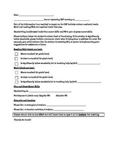 IEP form - teacher input..I like this idea but I need to modify it to address specific areas...especially for testing...
