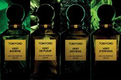 We take a closer look at the seriously Seventies new Private Blend scents from Tom Ford: Vert de Fleur, Vert Boheme, Vert des Bois and Vert d'Encens