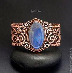 Handmade bracelets. Fair Masters - handmade. Buy Copper Bracelet depth. Handmade. Blue, Labrador, openwork bracelet